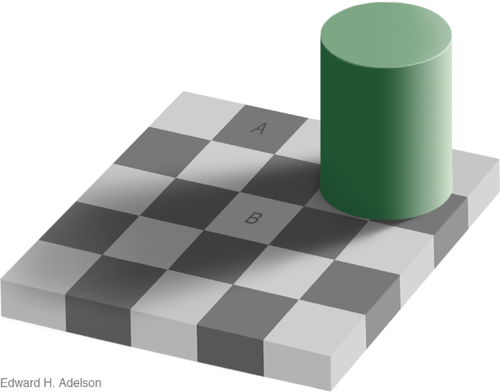 The checkershadow illusion.