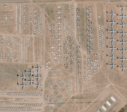 "SkySat image of the decommissioned aircraft ""boneyard"" outside of Tucson captured on October 19, 2016 © 2016, Planet Labs Inc. All Rights Reserved."