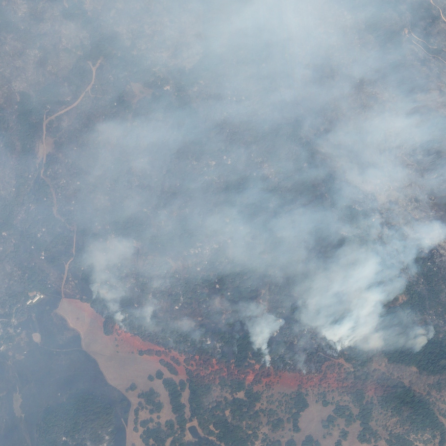 High-resolution SkySat image show wildfires sweeping through the hills northeast of Napa, California on October 10, 2017.