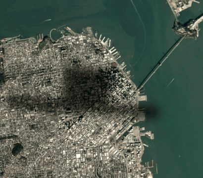 Shadow of megasat flying over San Francisco