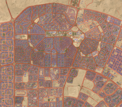 Roads and building detentions overlaid on a PlanetScope monthly mosaic of Cairo