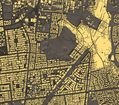 Planet's building detection feed augments Planet basemaps with building locations, updated monthly. This map shows an area of mixed small and large buildings on the outskirts of a Cairo, Egypt. // Credit: Rob Simmon & Planet Analytics Team