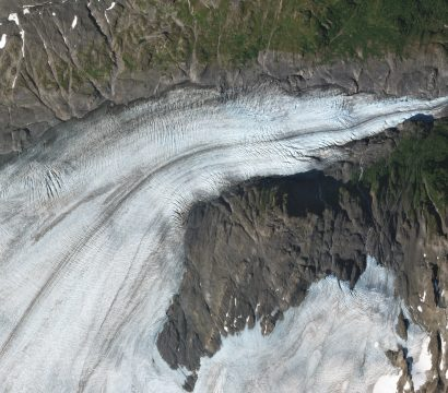 A complex network of crevasses is visible in this SkySat view of Exit Glacier collected on August 15, 2019. // Credit: Rob Simmon, Planet