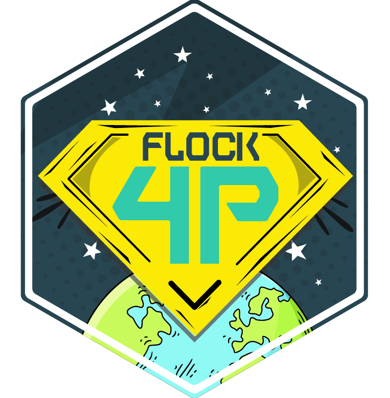 The Flock 4p mission patch, as designed by Planteer Sam Roy