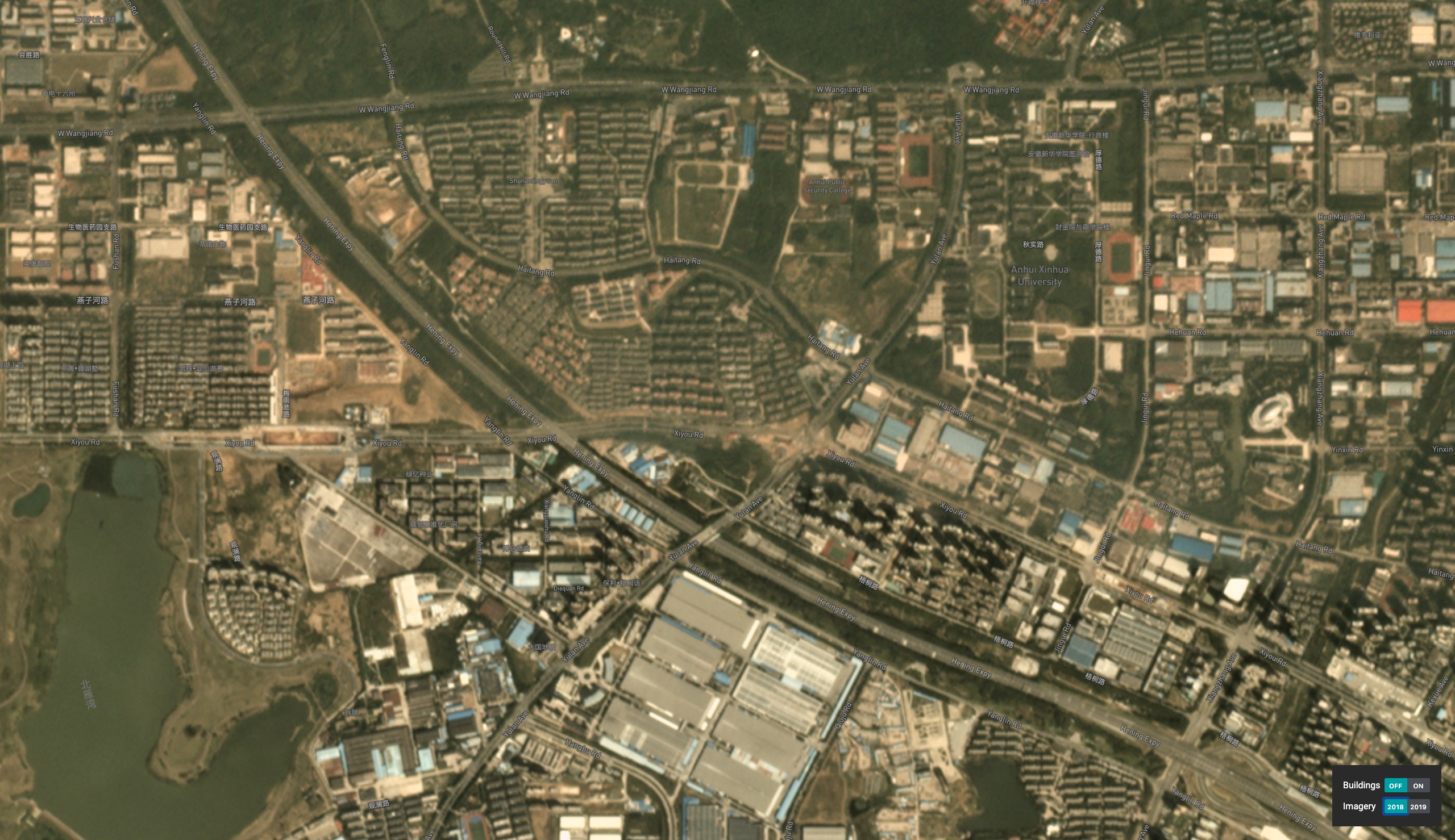 Imagery of the fast growing city of Hefei, China indicating an outward expansion with accumulated area that has been built up; the built up area is shown in yellow on the visual basemap // (c) 2019, Planet Labs Inc. All Rights Reserved.