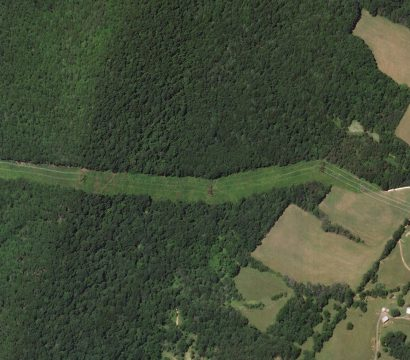A Planet SkySat collected this high-resolution view of a power line right of way near Jennings Gap, West Virginia on July 1, 2019. // Credit: Rob Simmon, Planet