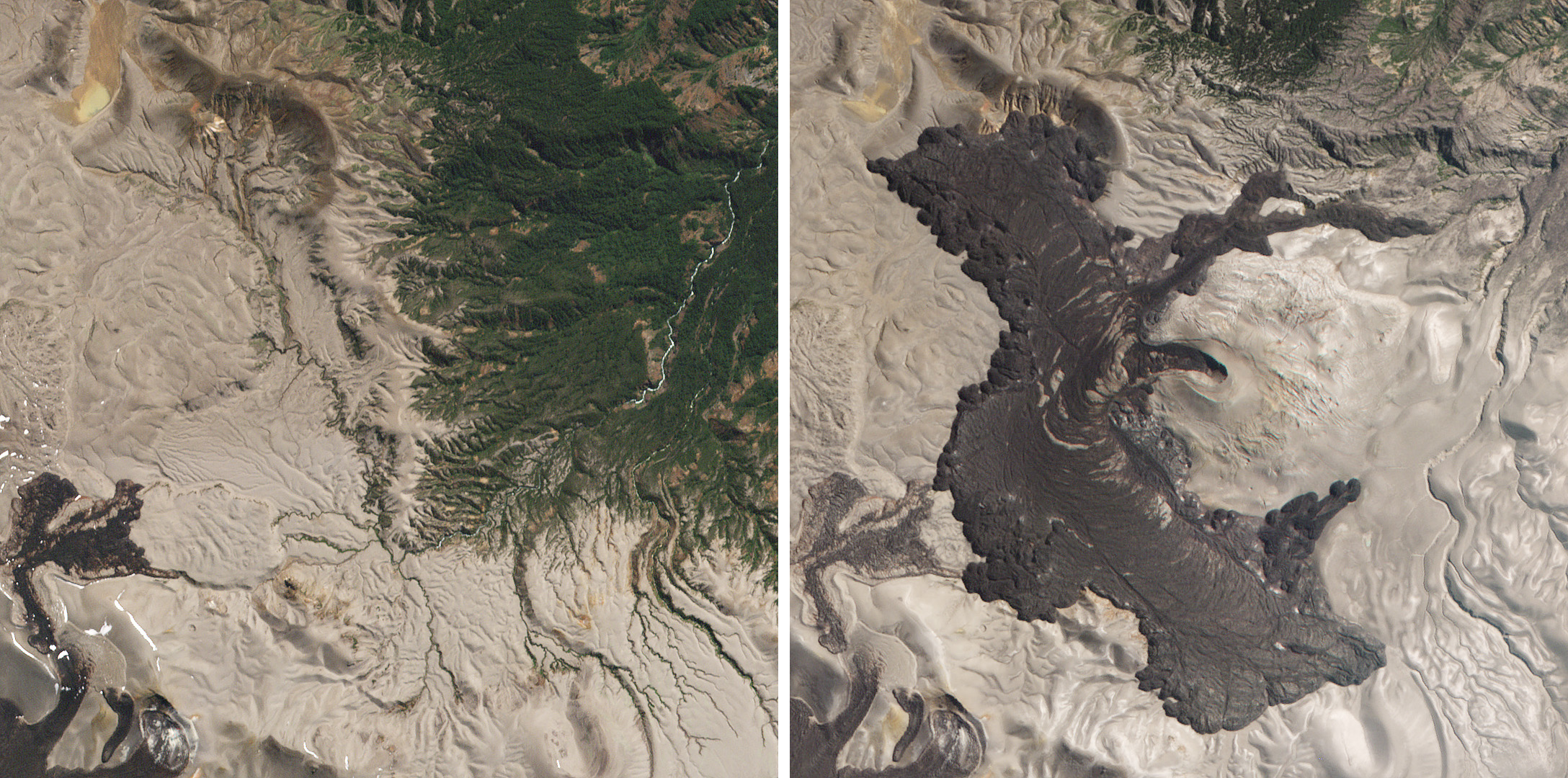 From June 2011 to April 2012, Puyehue-Cordón Caulle covered 16 square kilometers of the Andes in a lava flow about 30 meters thick. These RapidEye images show the area shortly before the eruption—on March 24, 2011 and 8 years later on March 10, 2019. (c) 2019, Planet Labs Inc. All Rights Reserved.