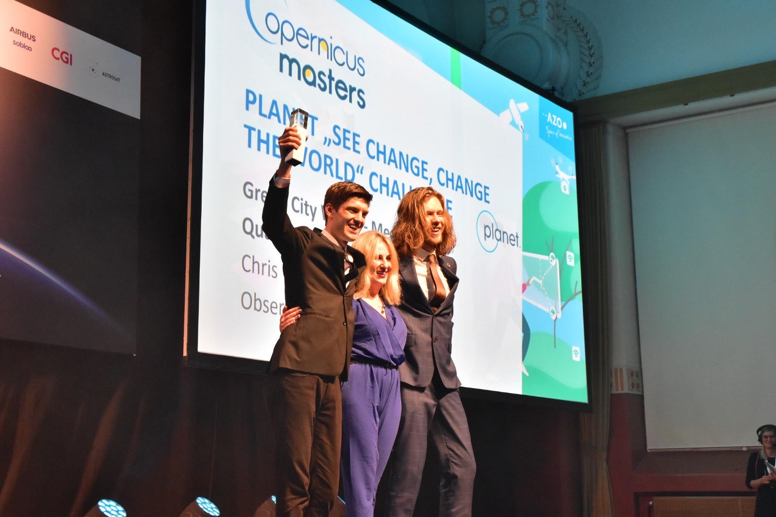 Planet reveals the winners of their 2019 Copernicus Masters Challenge at the Space Oscars. Photo provided by Agnieszka Lukaszczyk, Planet's senior director of European affairs.