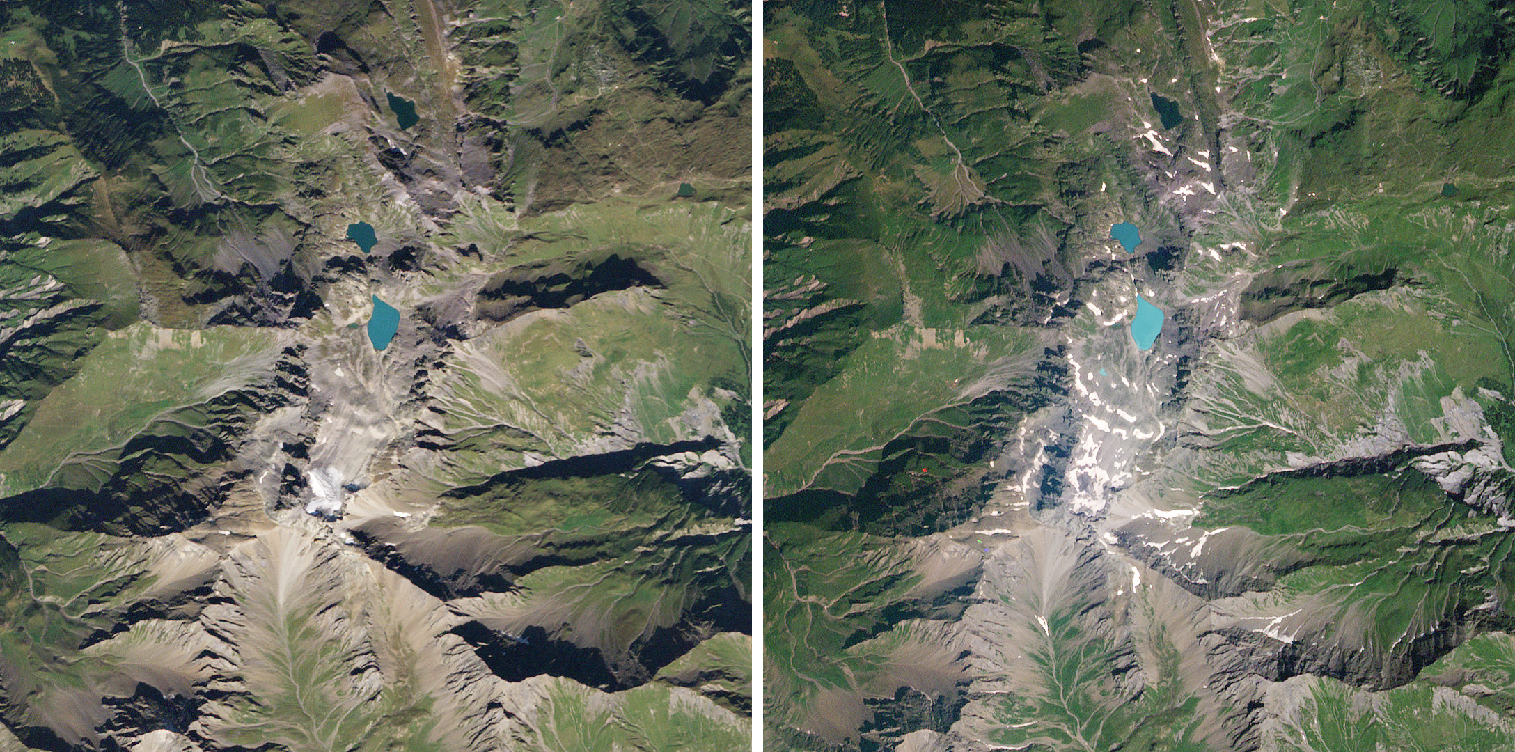 Over the course of a decade Switzerland's Pizol Galcier wasted away, transforming from an active glacier into scattered snow fields. The imagery was captured on September 8, 2009 (left) and August 9, 2019 (right). (c) 2019, Planet Labs Inc. All Rights Reserved.