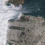 View of San Francisco (and the city's classic fog) from above, (c) 2019, Planet Labs Inc. All Rights Reserved.