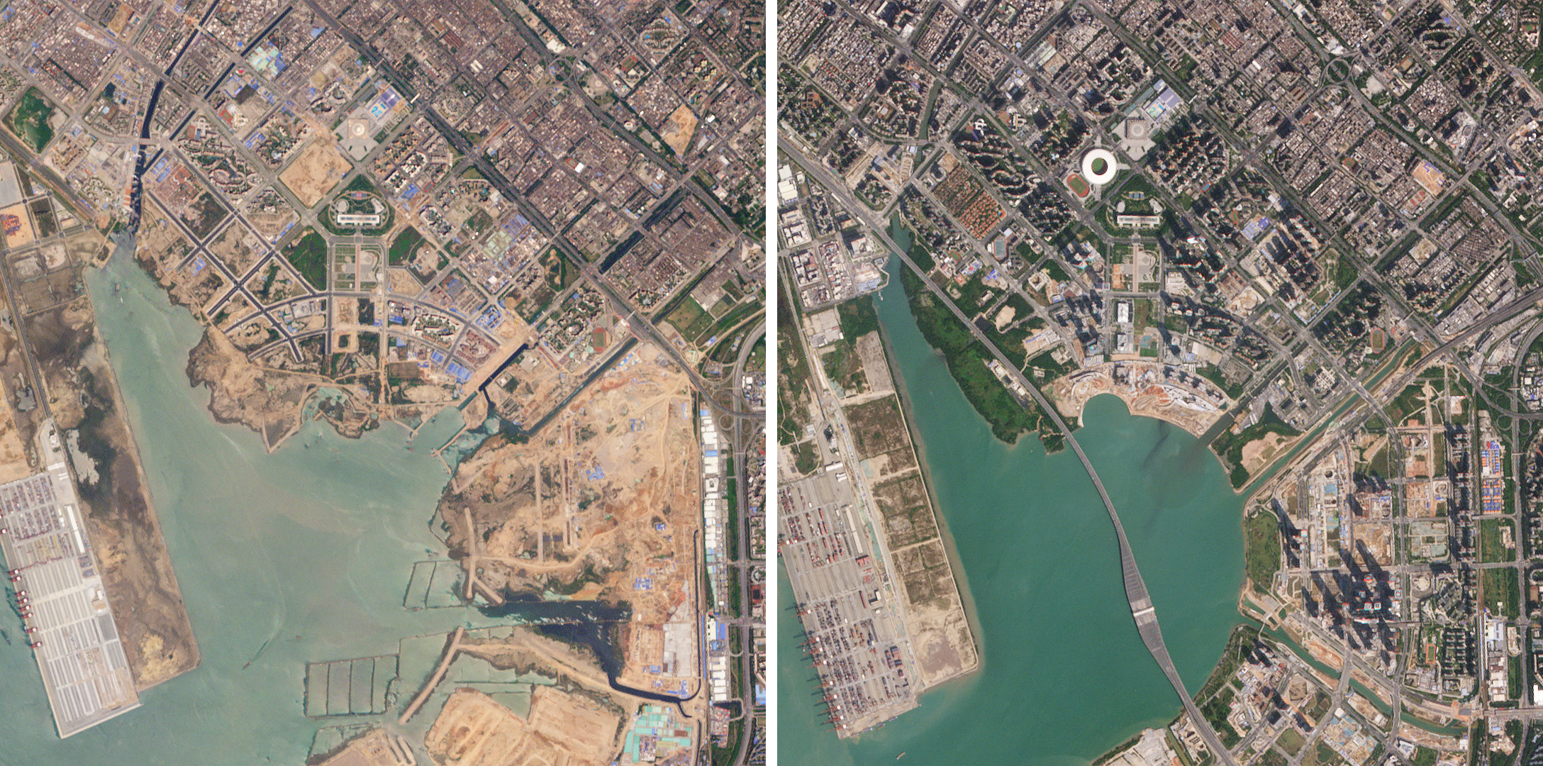 Shenzhen, in China's Pearl River Delta, grew tremendously during the life of the RapidEye constellation. This image pair, from May 1, 2009 and November 5, 2019, shows the transformation of the area around Qianhai Bay. (c) 2019, Planet Labs Inc. All Rights Reserved.