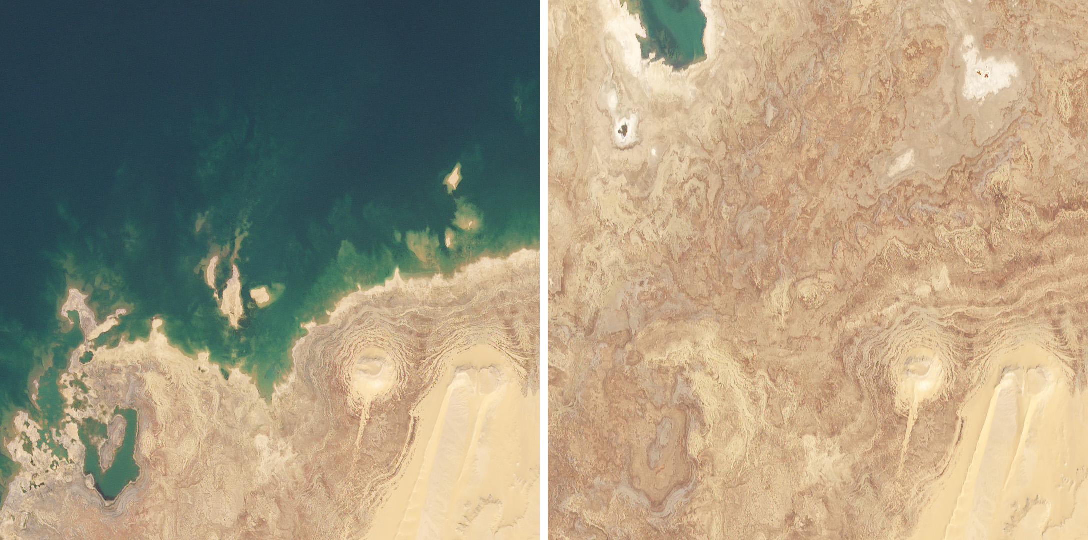 Since filling in the late 1990s, the Toshka Lakes in southern Egypt have fluctuated wildly due to changes in rainfall over the Nile River Watershed. These changes are visible in complex fossil shorelines in the dry lake-bed. These RapidEye images show the changes in one of the lakes from January 9, 2011 to February 28, 2019. (c) 2011 and 2019, Planet Labs Inc. All Rights Reserved.