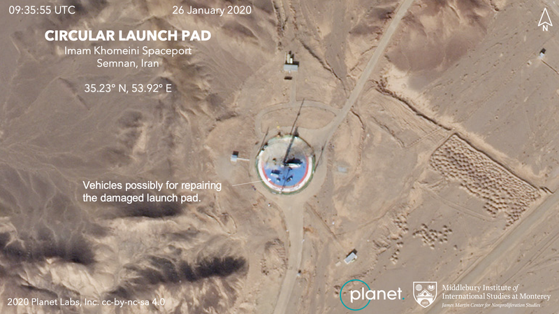 Planet imagery of the Imam Khomeini Space Center in northern Iran shows vehicles on a circular launch pad. Analysis provided by the Middlebury Institute of International Studies at Monterey. © 2020, Planet Labs Inc. All Rights Reserved.