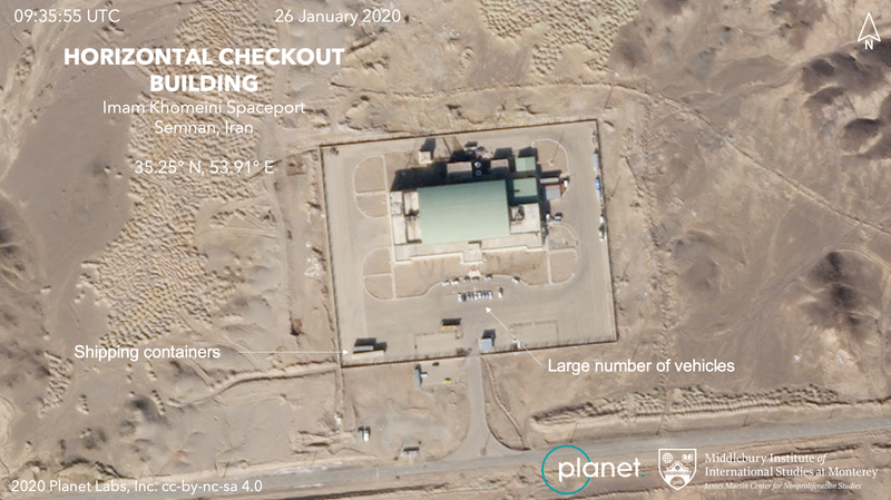 Planet imagery reveals cars near the assembly building where Iran's rockets are constructed. Analysis provided by the Middlebury Institute of International Studies at Monterey. © 2020, Planet Labs Inc. All Rights Reserved.