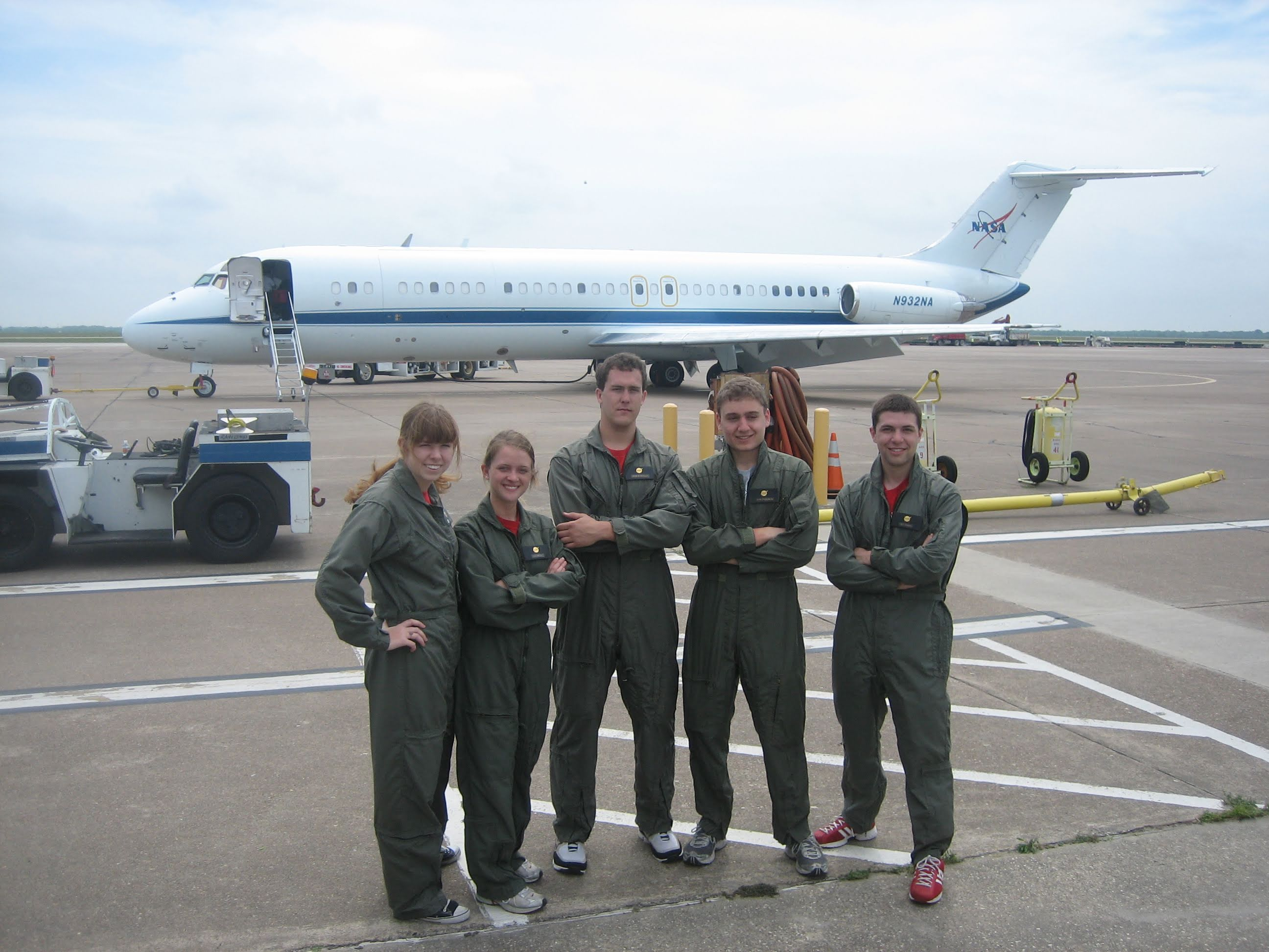 "Lisa McGill poses with her University of Wisconsin-Madison teammates as they await their trip on the ""Vomit Comet."" Image courtesy of Lisa McGill."