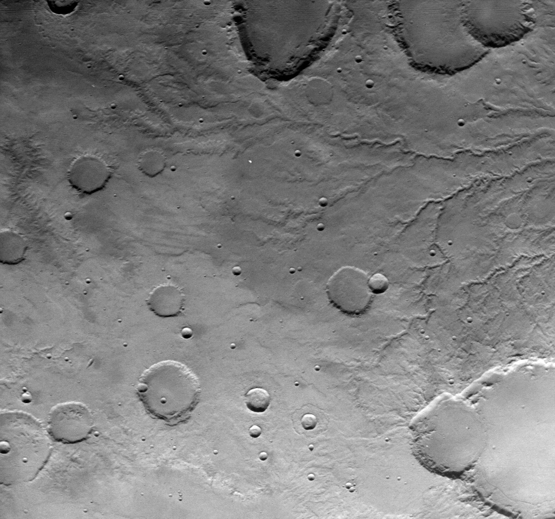 Parana Valles, one of Mars' more striking valley networks, as imaged by the Viking 1 orbiter in 1976. The image spans ~250 km across. Image credit: NASA/JPL-Caltech.