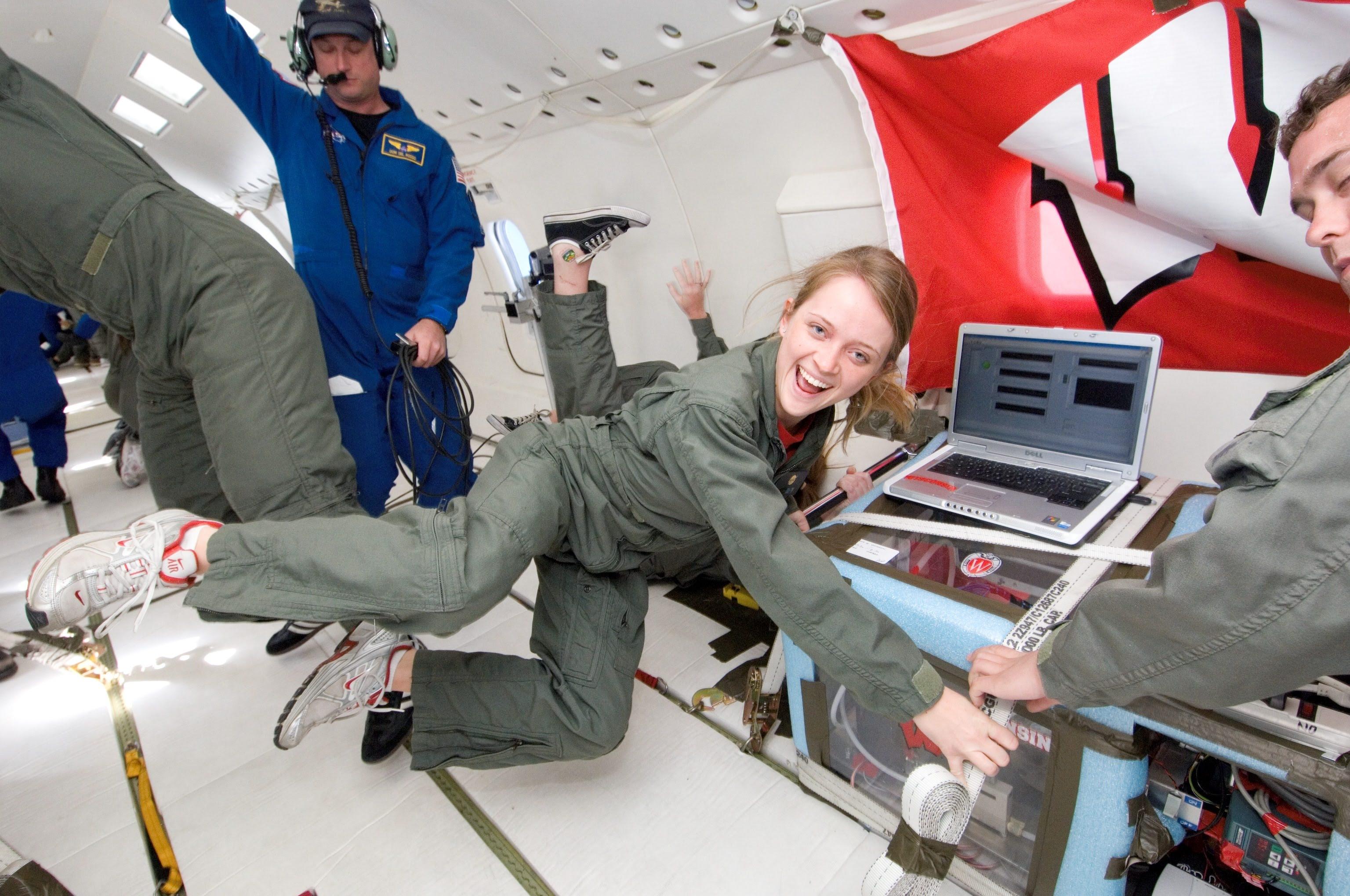 Lisa McGill in NASA's Zero Gravity Weightless Lab. Image courtesy of Lisa McGill.