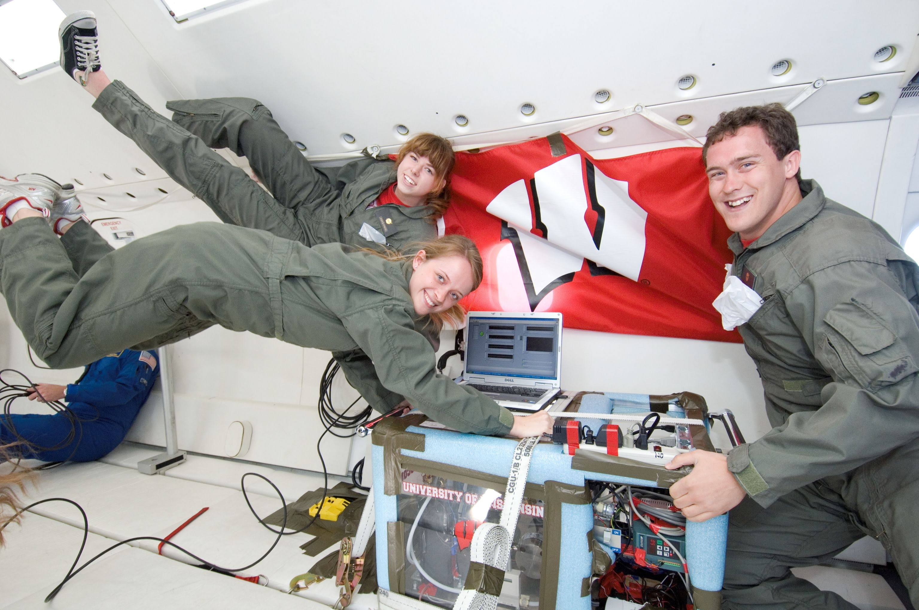 Planet's Lisa McGill and her University of Wisconsin-Madison teammates in NASA's Zero Gravity Weightless Lab. Image courtesy of Lisa McGill.