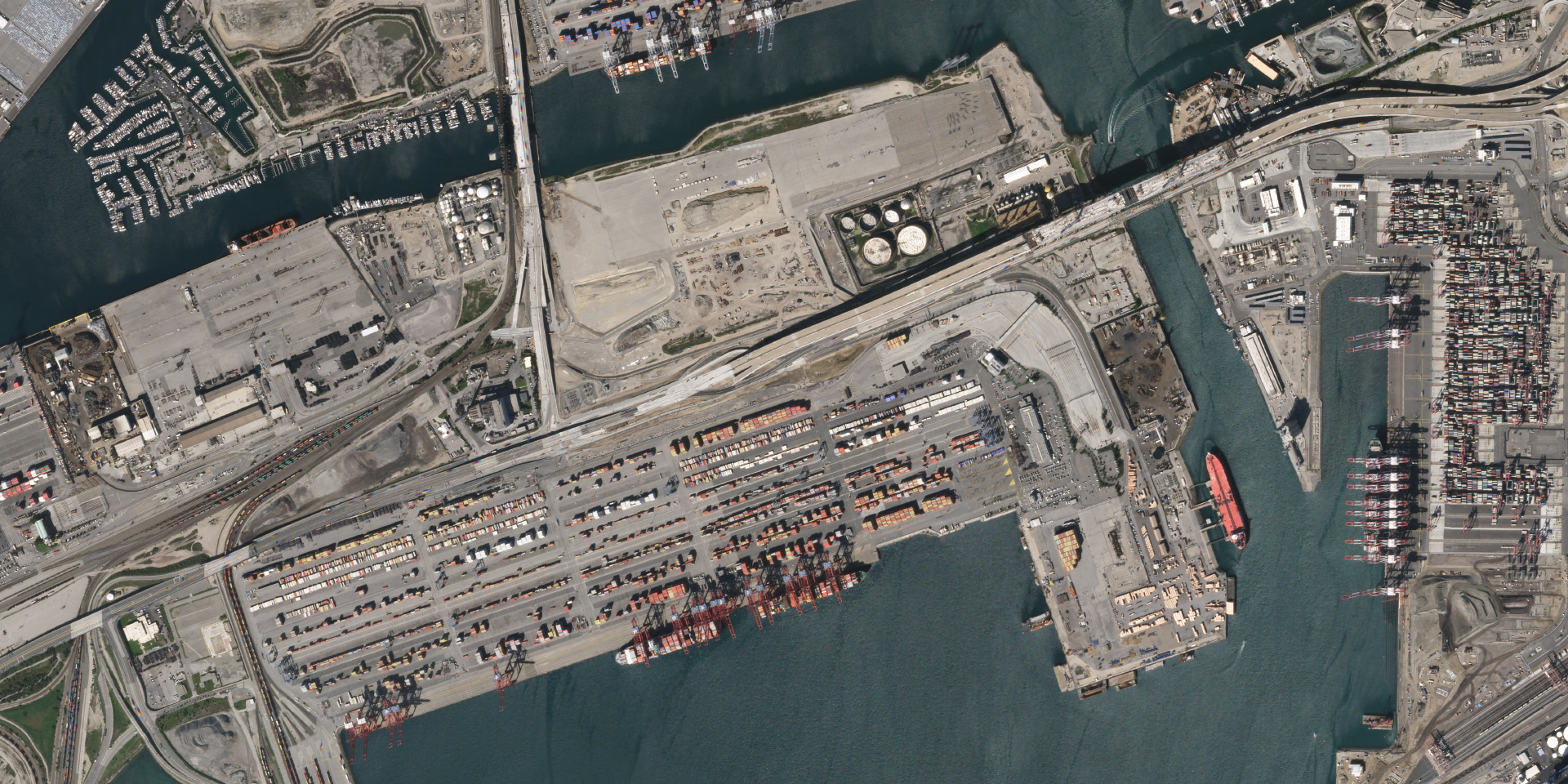 The busy port of Long Beach, California on February 14, 2020. © 2020, Planet Labs Inc. All Rights Reserved.
