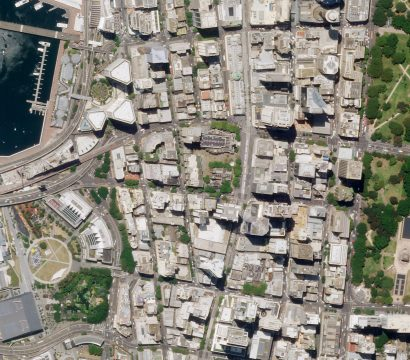 Downtown Sydney, Australia, including the International Convention Centre and Anzac Memorial, collected by a Planet SkySat on January 22, 2020. © 2020, Planet Labs Inc. All Rights Reserved.