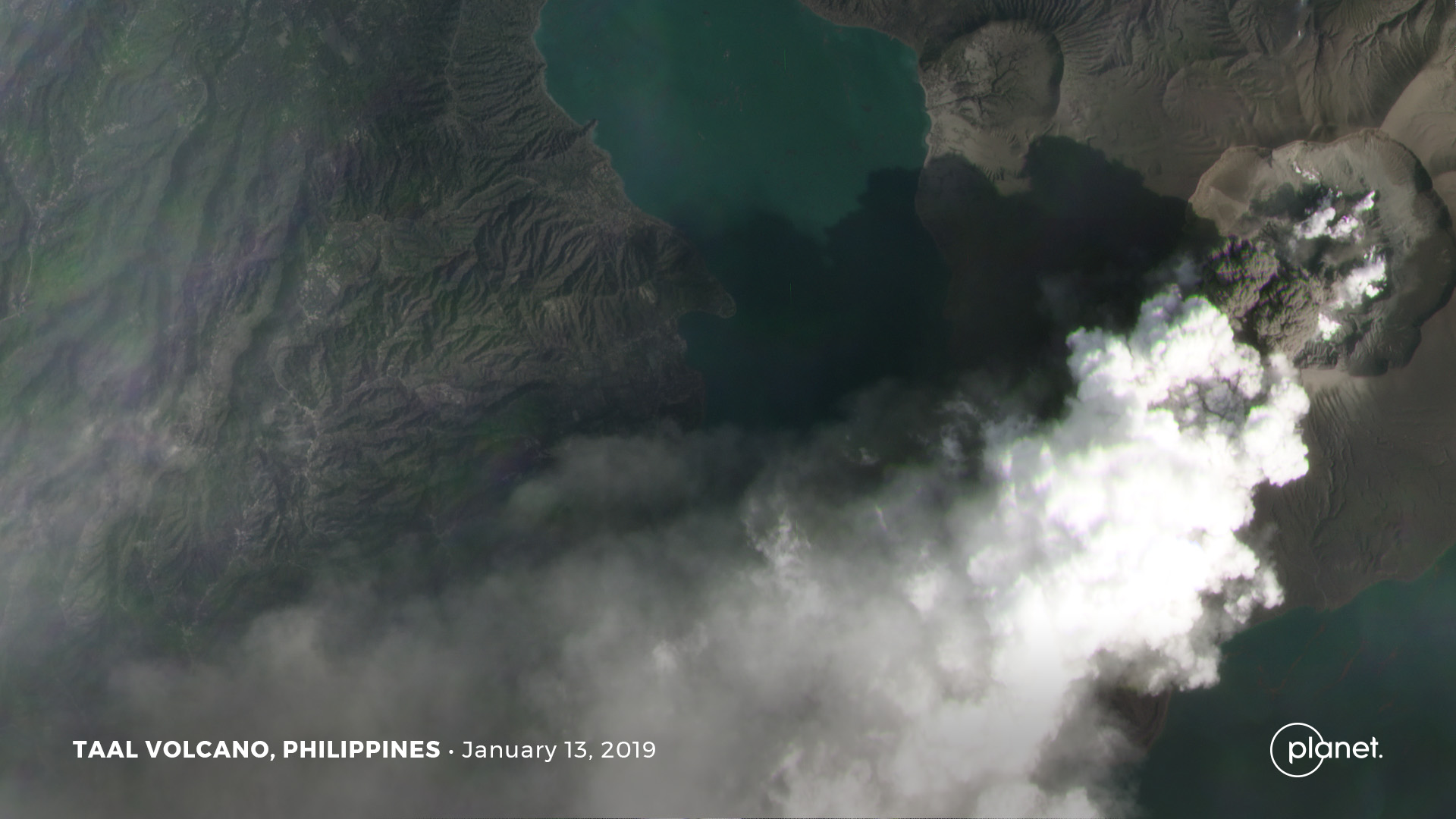 Planet imagery shows ash plumes shooting almost a half mile upward as the Taal volcano erupts. © 2020, Planet Labs Inc. All Rights Reserved.