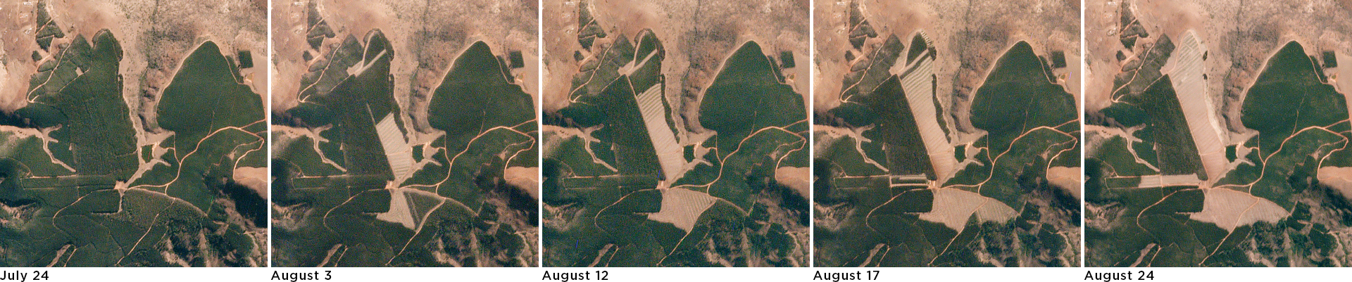 Geospatial provides customers with weekly image comparisons to reflect forest changes. © 2019, Planet Labs Inc. All Rights Reserved.