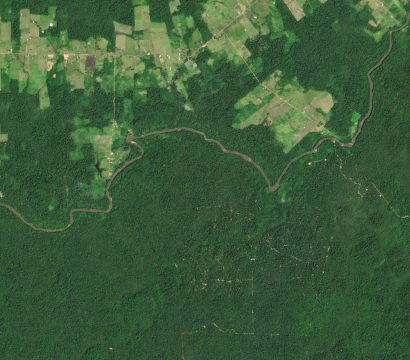 This PlanetScope image shows agricultural fields and selective logging along the Jauaperi River, near Rorainópolis in the Brazilian Amazon. © 2020, Planet Labs Inc. All Rights Reserved.