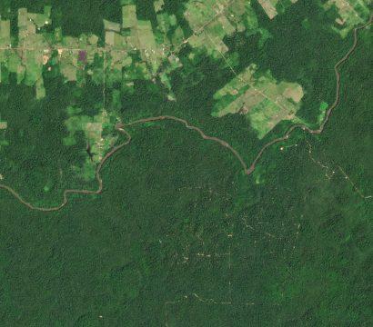 这PlanetScope形象示人的农田和选择性伐木沿Jauaperi河,罗赖诺波利斯附近的巴西亚马逊。©2020年,地球Labs公司保留所有权利。