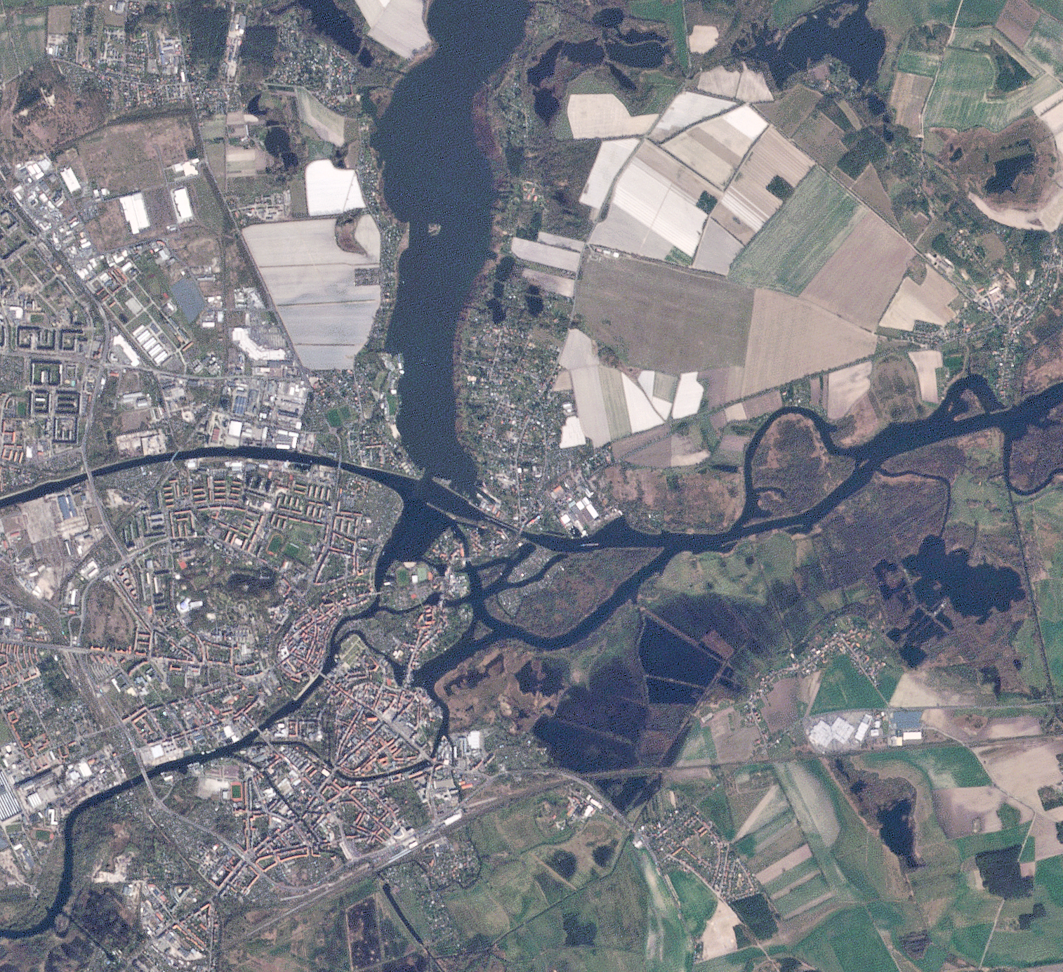 RapidEye last light image of Brandenburg, Germany. © 2020, Planet Labs Inc. All Rights Reserved.