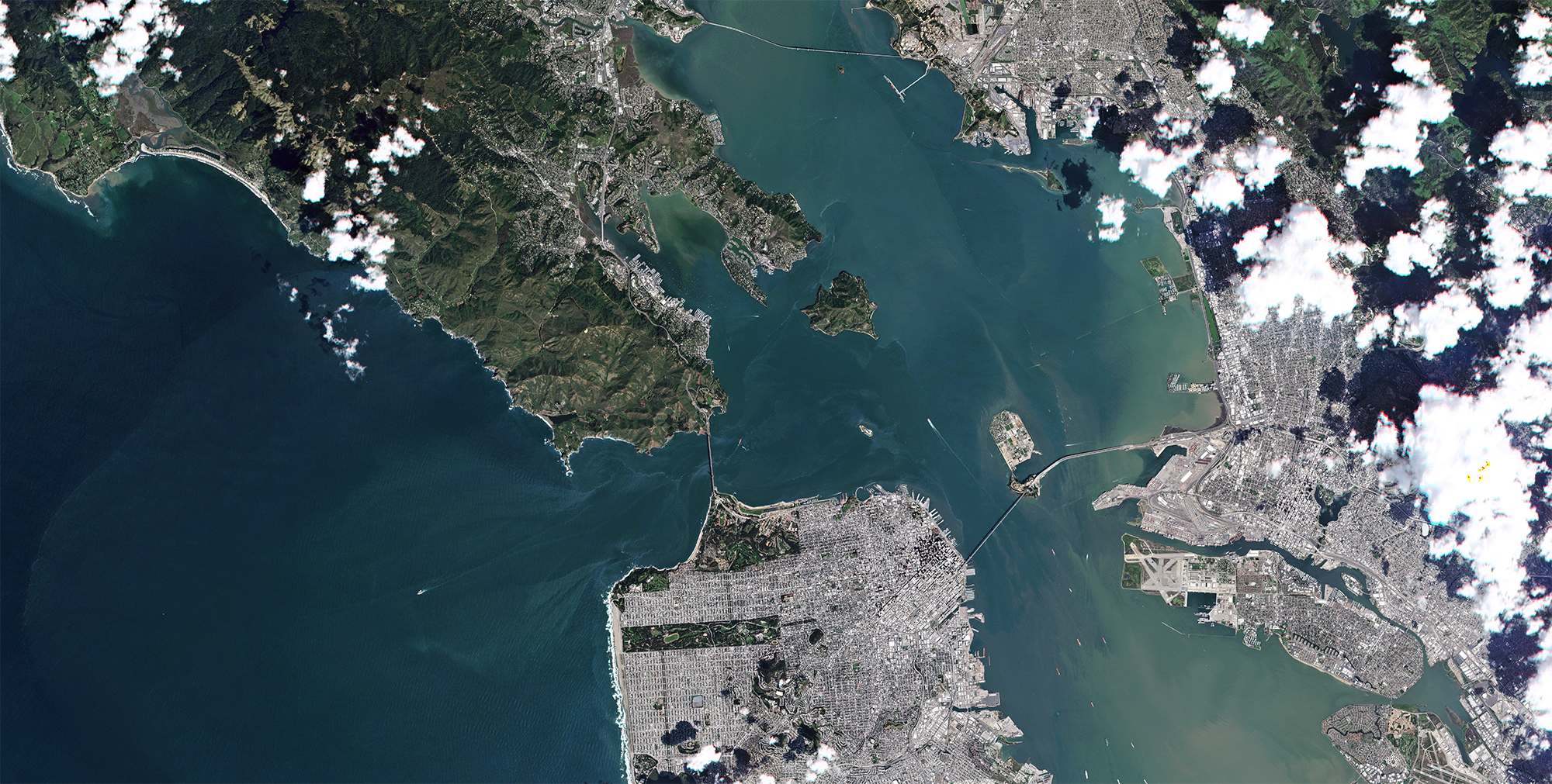 RapidEye last light image of San Francisco, California. © 2020, Planet Labs Inc. All Rights Reserved.