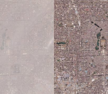 Planet imagery showing the difference between a smoggy day and a day without smog in Beijing © 2020, Planet Labs Inc. All Rights Reserved.