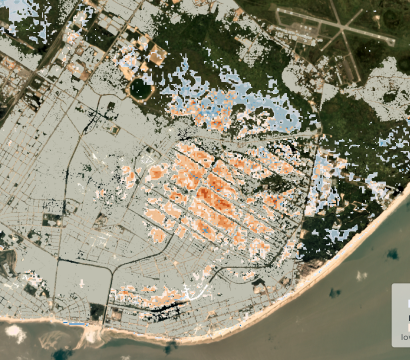 Cloud to Street used historical data and Planet's unique analytics to show structures at risk from flooding in Beira, Mozambique. © 2020, Planet Labs Inc. All Rights Reserved.