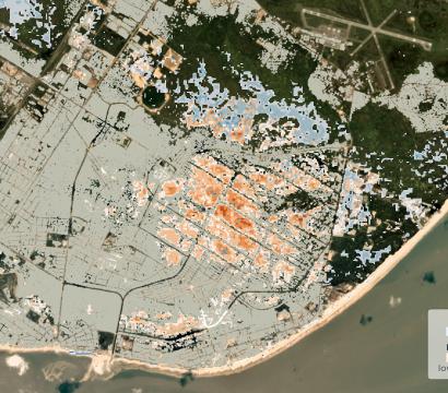 云街的历史数据和行星的独特的分析显示,在风险结构从贝拉,莫桑比克洪灾。©2020年,地球Labs公司保留所有权利。