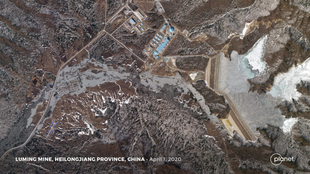 Planet SkySat image of the aftermath of the Luming Mine accident © 2020, Planet Labs Inc. All Rights Reserved.