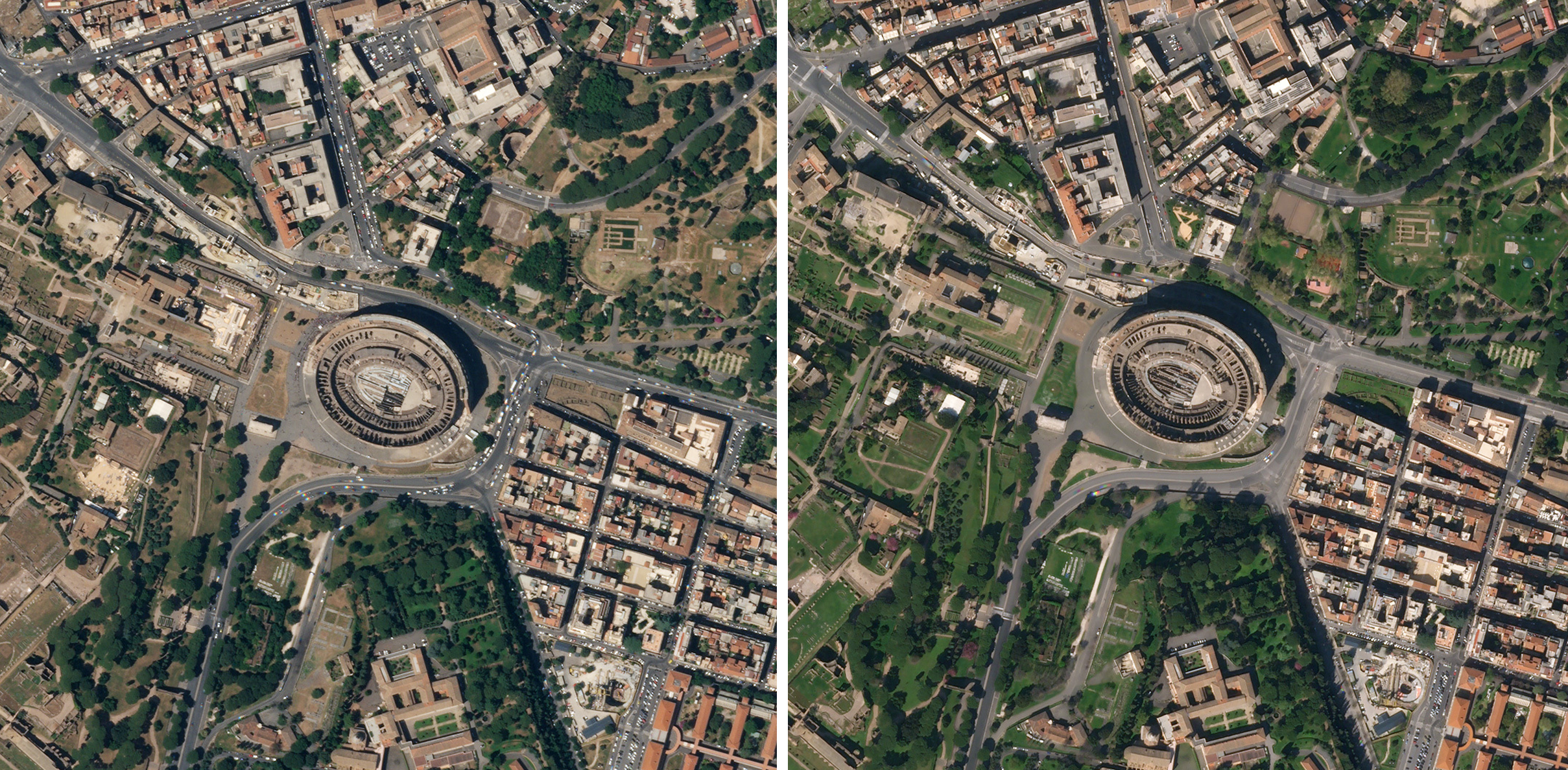 The typical queue that forms at the entrance to the Colosseum in Italy was absent in this SkySat image from April 6, 2020. Compared to July 5, 2019, traffic on the surrounding streets was greatly reduced. The Colosseum is among the many tourist sites around the world temporarily shut down in an effort to slow the spread of COVID-19. © 2020, Planet Labs Inc. All Rights Reserved.