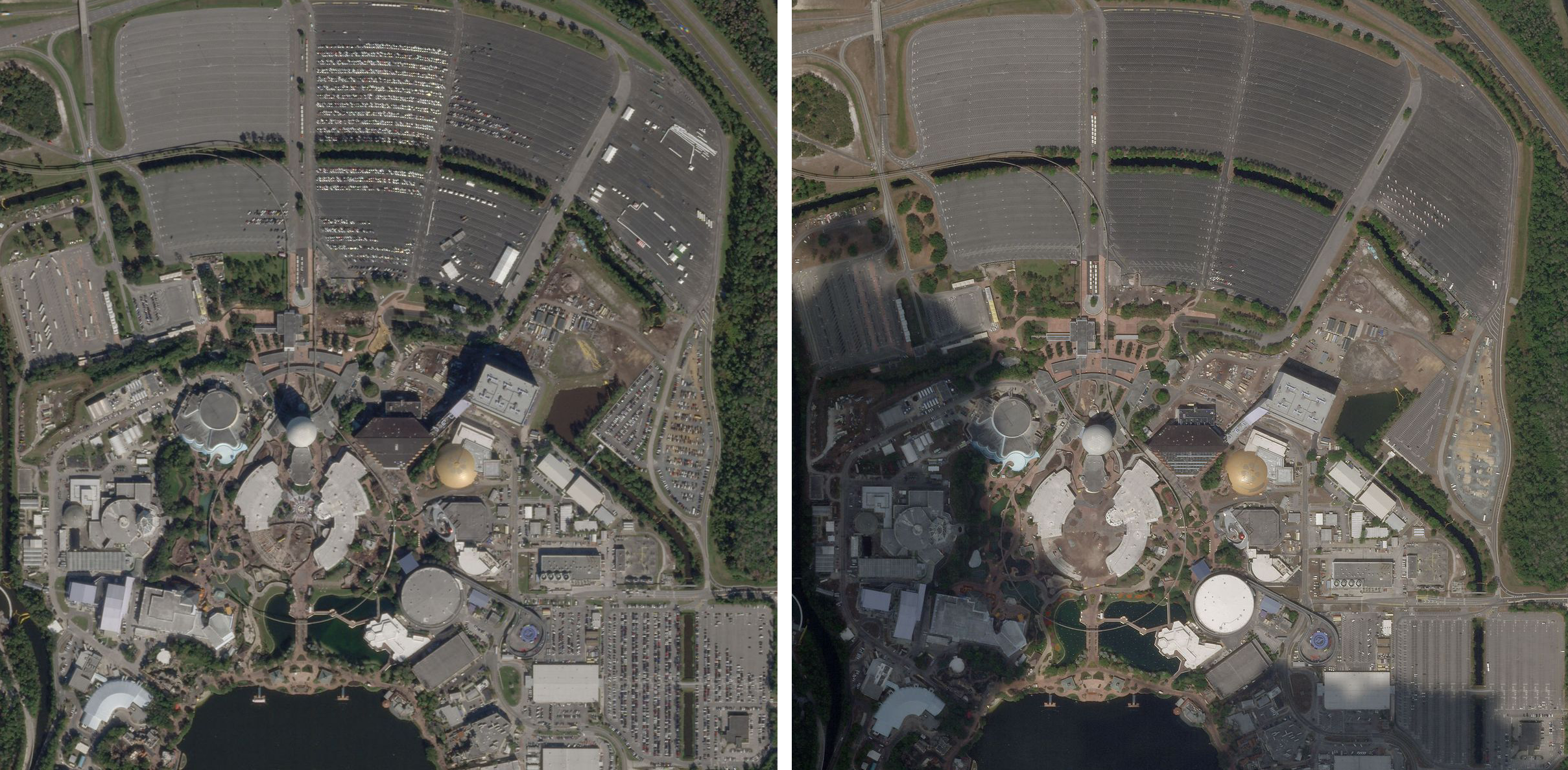 Epcot Center in Bay Lake Florida on January 6, 2020 (left) is full of park goers cars. Since COVID-19 safety measures were instated by Walt Disney Co. on March 18, 2020, the lots have continued to be empty (right). © 2020, Planet Labs Inc. All Rights Reserved.