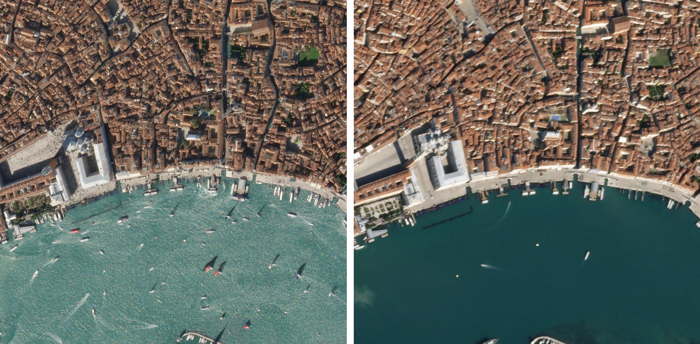 Planet imagery shows the usually-busy Venice canals in October of 2019 (left) and the nearly empty waterways on March 18, 2020 (right), following Prime Minister Giuseppe Conte's call for a countrywide lockdown. © 2020, Planet Labs Inc. All Rights Reserved.