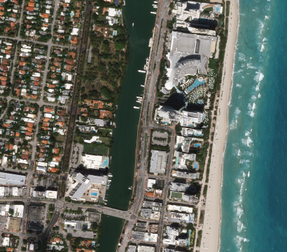 Planet imagery shows a deserted Miami Beach in Florida due to COVID-19 closures. © 2020, Planet Labs Inc. All Rights Reserved.