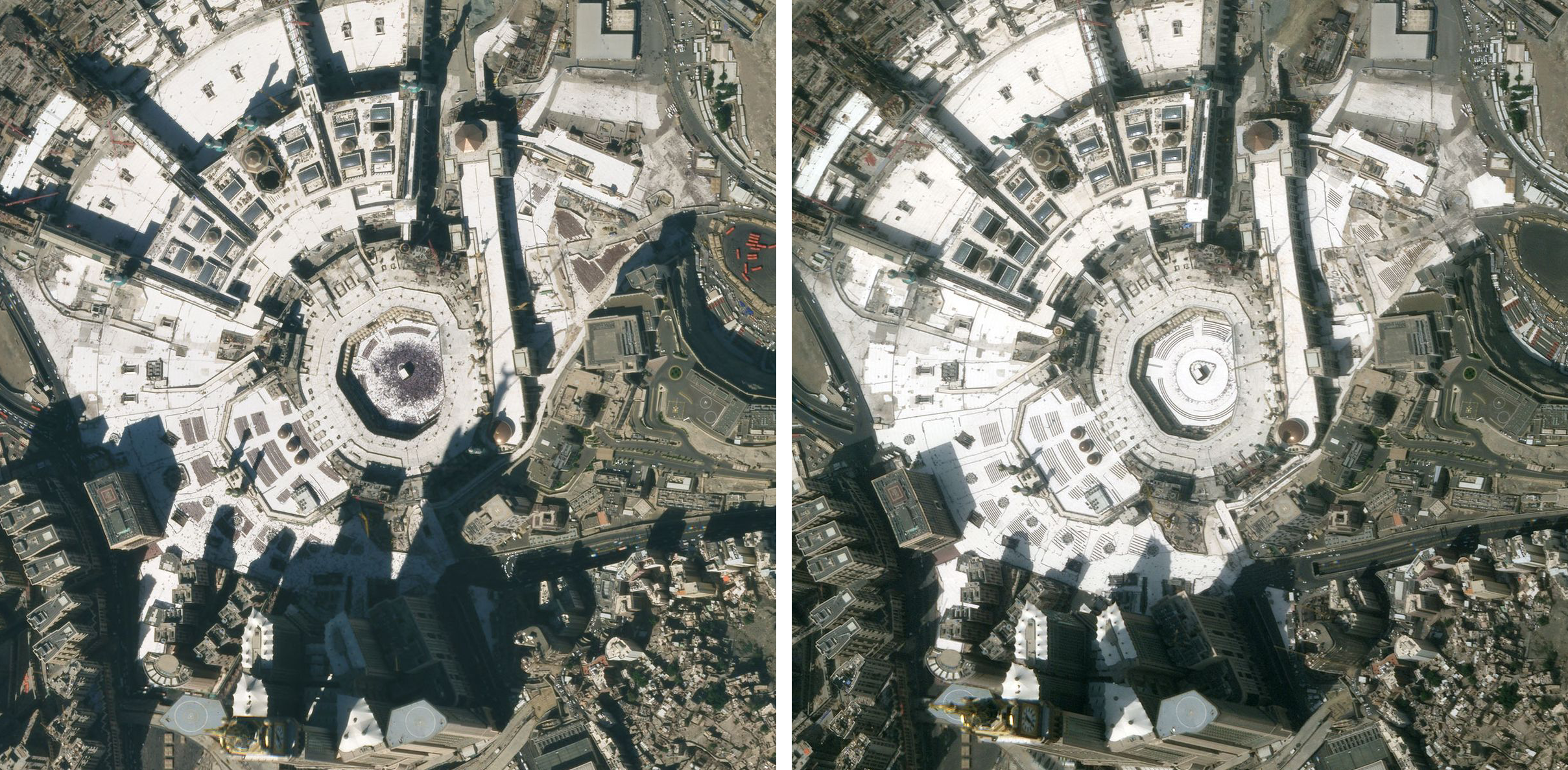 Planet imagery shows the crowded Great Mosque of Mecca, Islam's holiest site, on January 25, 2020 (left), and again on March 10, 2020 (right), after the nation limited access to the shrine and suspended all entrance and prayers. © 2020, Planet Labs Inc. All Rights Reserved.