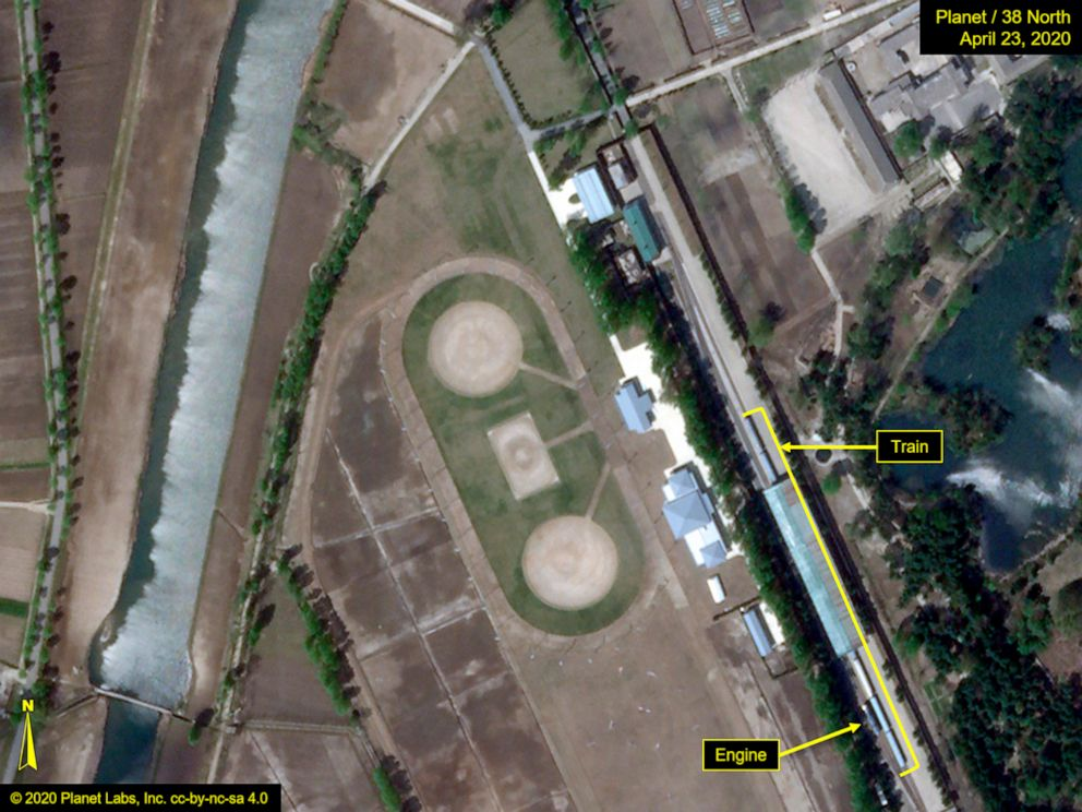 Planet imagery, annotated by 38 North, shows the Leadership Railway Station in Wonsan, North Korea on April 23, 2020.