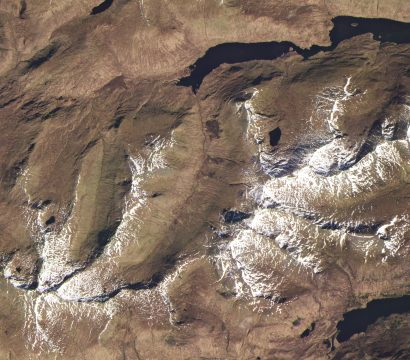 Loch Mullardoch and Loch Affric, Scotland on April 13, 2019 • Ancient glaciers carve the U-shaped valleys strewn across the Scottish Highlands. © 2019, Planet Labs Inc. All Rights Reserved.