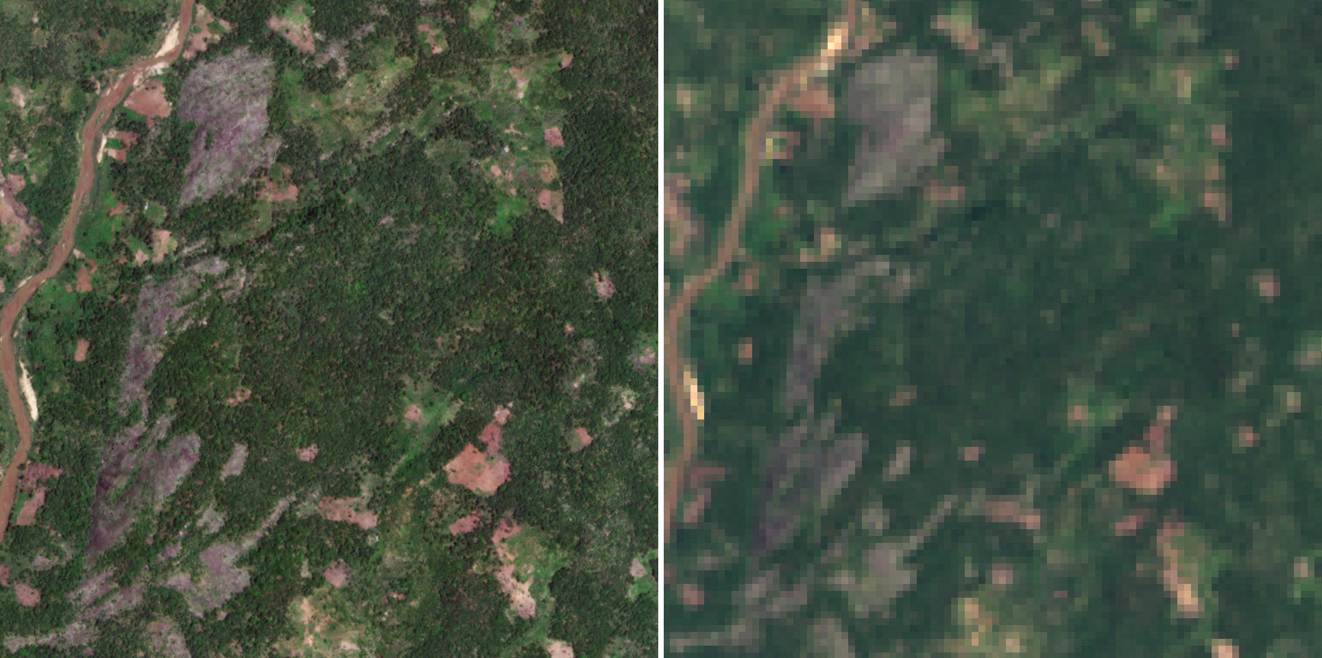High-resolution satellite imagery helps improve the accuracy and consistency of forest area estimation by providing a clearer picture of land cover and land use over a given area. The images above compare an area of varied land use along the Malela River in Mozambique viewed by PlanetScope (left) and Landsat 8 (right). Both images were collected on December 4, 2020. © 2020, Planet Labs Inc. All Rights Reserved.