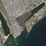 Small boats are anchored in a dockyard adjacent to the Port of Chongjin, North Korea. This Planet Skysat image was collected on June 3, 2020.