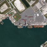 SpaceX's Atlantic fleet moored at Port Canaveral, Florida and imaged by a Planet SkySat on March 7, 2020. © 2020, Planet Labs Inc. All Rights Reserved.