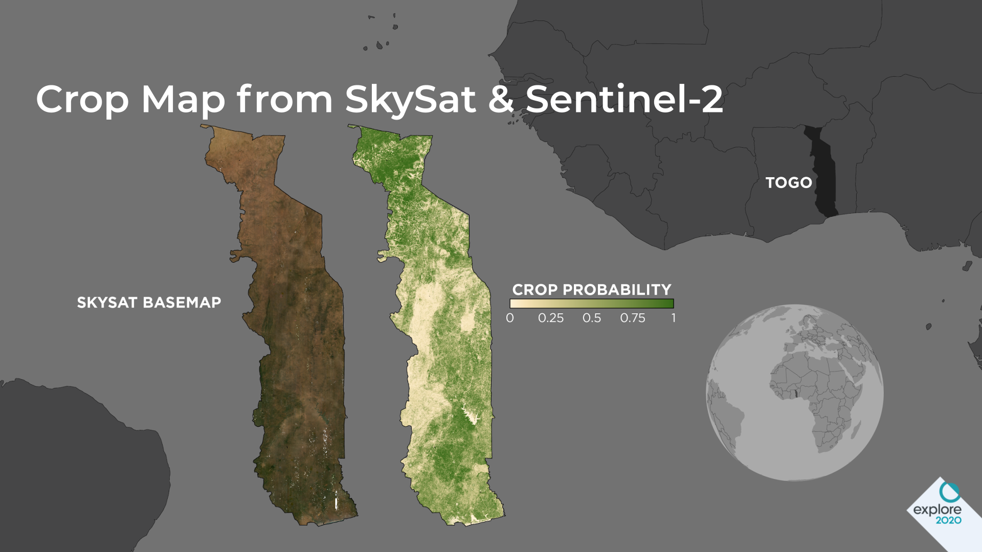Country-wide cropland probability map and Planet's SkySat Basemap.
