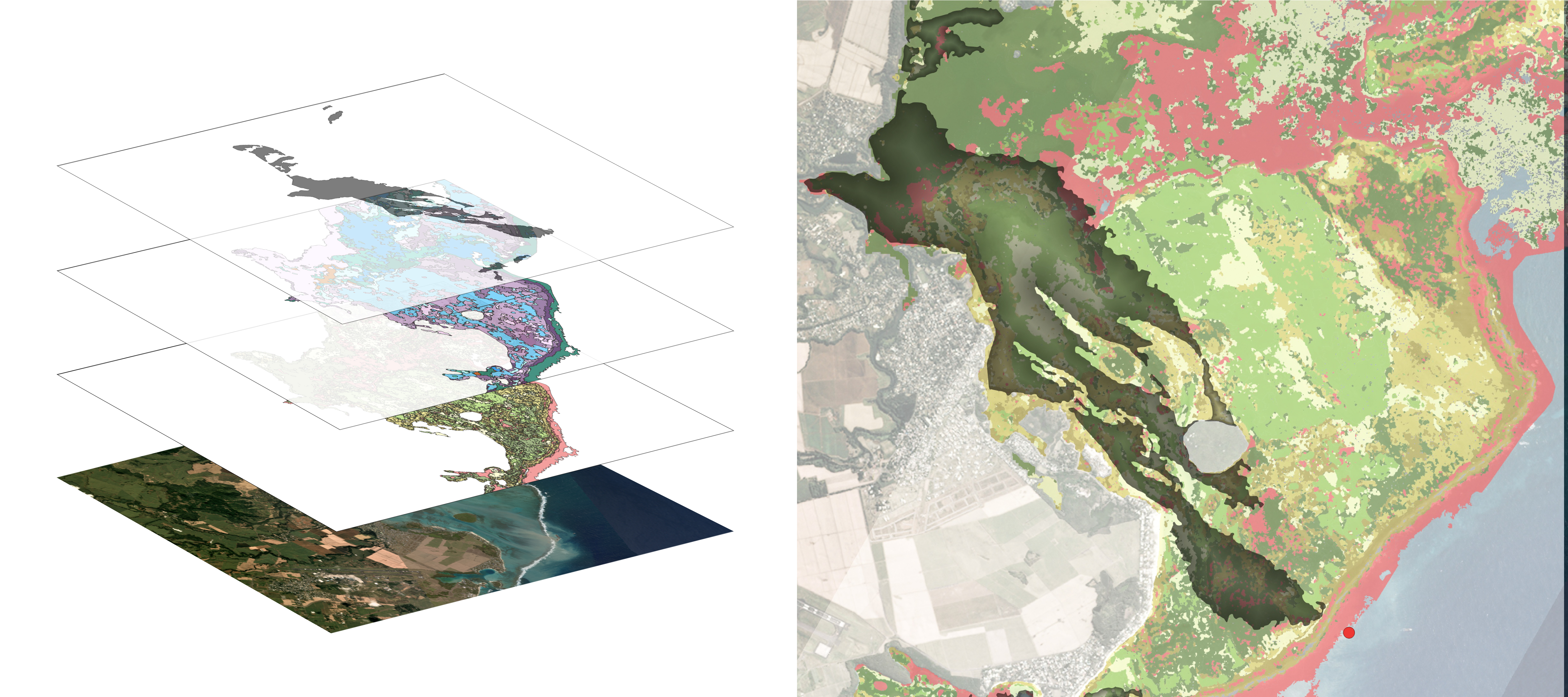 Example data being made available in this release. On the left, separate data layers (from bottom) include Planet SkySat 50 cm optical satellite imagery; benthic and geomorphic imagery from the Allen Coral Atlas; and Synthetic Aperture Radar (SAR) imagery provided by ICEYE with analysis by Ursa Space Systems. On the right, a combined view. The red dot on the right is the original location of the MV Wakashio. SAR and Planet imagery used in this illustration are dated August 16, 2020.
