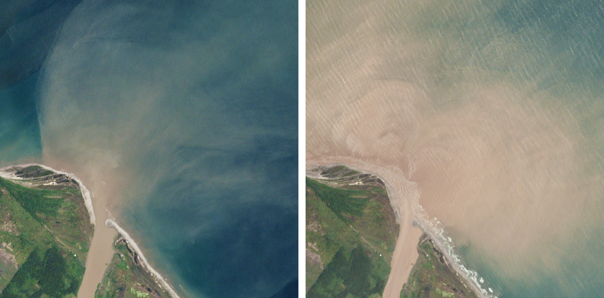 Planet imagery shows examples of sediment-rich water flowing into the Caribbean Sea which were associated with discharges of plastic from the Motagua River after heavy rainfall on March 9, 2018 (left) and September 6, 2018 (right). © 2018, Planet Labs Inc. All Rights Reserved.