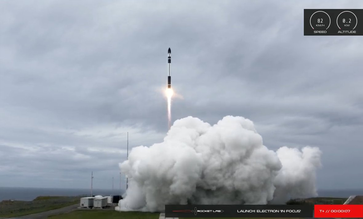 Liftoff of Rocket Lab's Electron rocket carrying nine SuperDoves